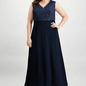ALEX EVENINGS Womens Navy Embellished Sequined Emp